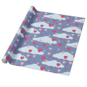 Сloud Hearts Valentine's Day Wrapping Paper