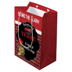 00th Birthday Party - Sound the Alarm -Fireman Medium Gift Bag