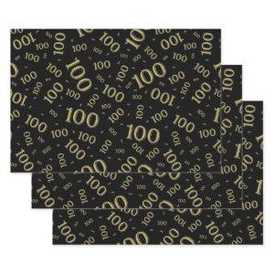 100th Birthday Gold and Black Number Pattern 100 Wrapping Paper Sheets