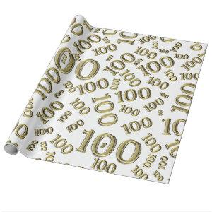 100th Birthday Gold and White Number Pattern (L) Wrapping Paper