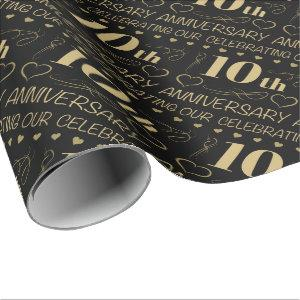 10th Wedding Anniversary Wrapping Paper