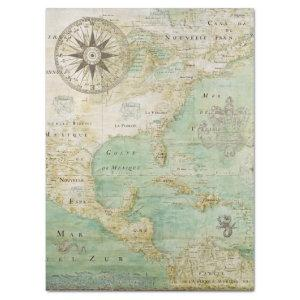 1600's AMERICA MAP Tissue Paper