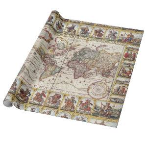 1652 Map of the World, Doncker Sea Atlas World Map Wrapping Paper