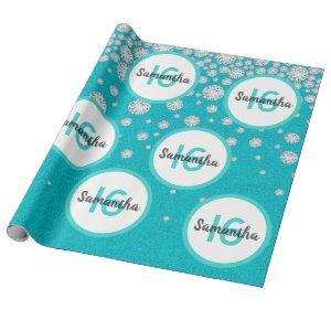 16th birthday teal green glitter diamonds wrapping paper