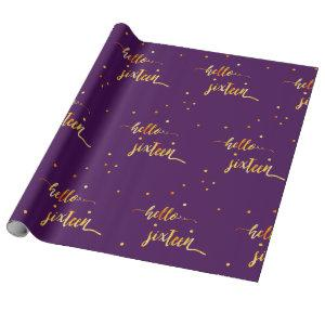 16th birthday typography purple hello sixteen wrapping paper