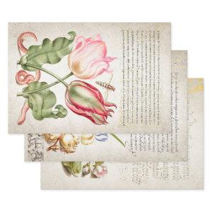 16TH CENTURY GARDEN & CALLIGRAPHY DECOUPAGE WRAPPI WRAPPING PAPER SHEETS
