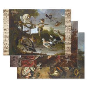 17TH CENTURY FRENCH ANTIQUE ANIMAL ART DECOUPAGE WRAPPING PAPER SHEETS