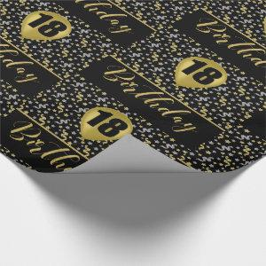 18th Birthday Gold Balloon on Black with Confetti Wrapping Paper