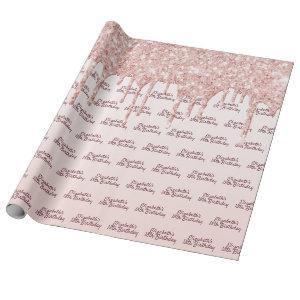 18th Birthday rose gold glitter drips pink name Wrapping Paper