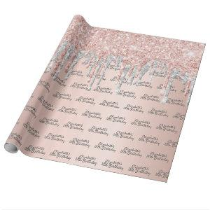 18th birthday rose gold glitter silver sparkle wrapping paper