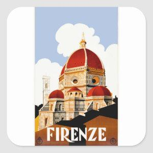 1930 Florence Italy Duomo Travel Poster Square Sticker
