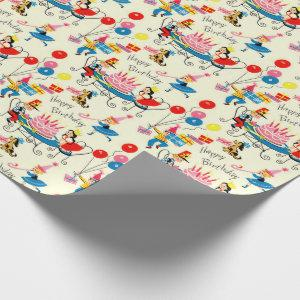 1950s Happy Birthday Wrapping Paper Mid Century