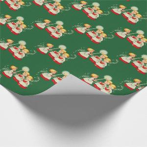 1950s Vintage Christmas Gift Wrap - Choir Children