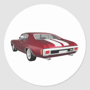 1970 Chevelle SS: Candy Apple Finish: Classic Round Sticker