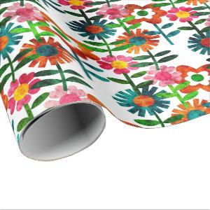 1970's Style Flowers Wrapping Paper