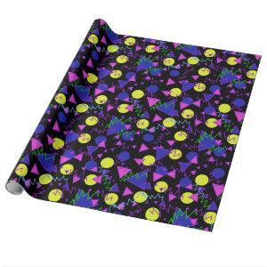 1990 bold geometric dark wrapping paper