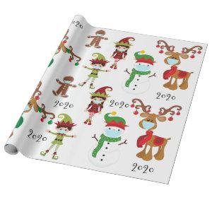 2020 Covid Quarnatine Christmas Face Mask Wrapping Paper