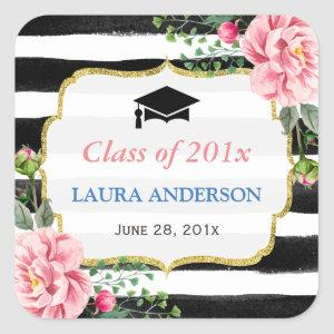 2020 Graduation Floral Black White Stripe Square Sticker