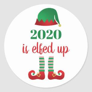 2020  Is Elfed Up Funny Christmas Saying Elf Red Classic Round Sticker