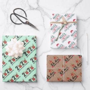 2020 quarantine christmas reindeer trio set 3 gift wrapping paper sheets