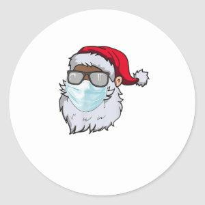 2020 Santa With Face Mask Black African Classic Round Sticker
