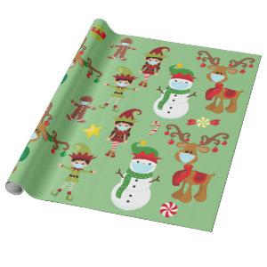 2020 Stay Safe Cute Christmas Face Mask Wrapping Paper