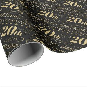 20th Wedding Anniversary Wrapping Paper