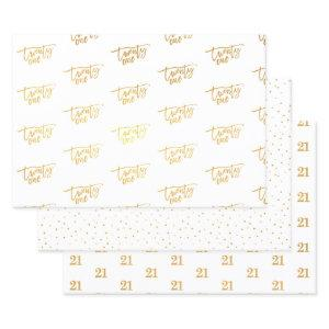 21 TWENTY FIRST modern birthday luxury script Foil Wrapping Paper Sheets