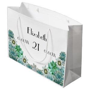 21st Birthday cacti flowers and succulents white Large Gift Bag