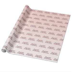 21st  birthday rose gold pink gradient name wrapping paper