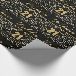 21st Birthday Star on Black with Silver Gold Wrapping Paper
