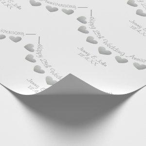 25th Silver Wedding Anniversary bunting white Wrapping Paper