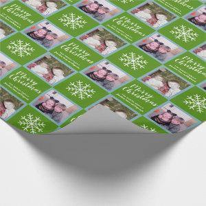2 Photo - Green Merry Christmas Snowflakes Wrapping Paper