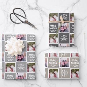 2 Photo Grey Neutrals Merry Christmas Snowflakes Wrapping Paper Sheets