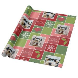 2 Photo Red Green Color Block Merry Christmas Wrapping Paper