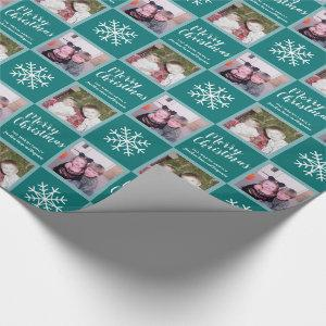 2 Photo - Teal Blue Merry Christmas Snowflakes Wrapping Paper