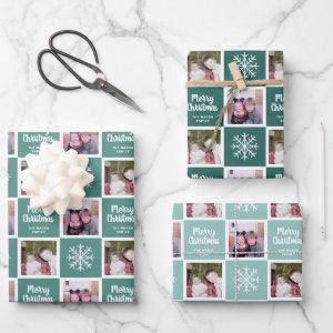 2 Photo Teal Greens - Merry Christmas Snowflakes Wrapping Paper Sheets