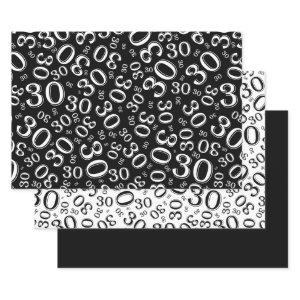 30th Birthday Black & White Number Pattern 30 Wrapping Paper Sheets