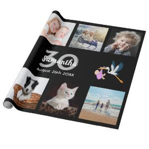 30th birthday party photo collage woman black wrapping paper