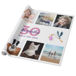 30th birthday party photo collage woman white wrapping paper