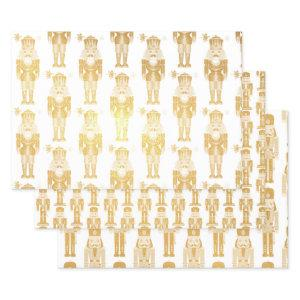 3 Christmas Gift Nutcracker Gold or Silver Foil Wrapping Paper Sheets