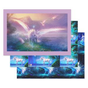 3 Fantasy Pegasus Unicorn Birthday Gift for Her Wrapping Paper Sheets