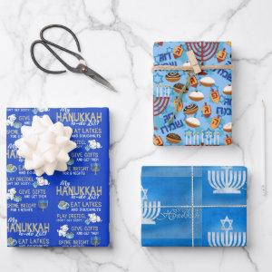3 Hanukkah Wrapping Paper in Blues Gift Wrap