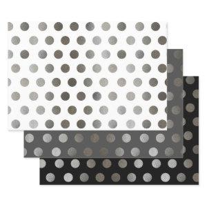 3 Pack: Silver Glitter Dots Black, White, & Gray Wrapping Paper Sheets
