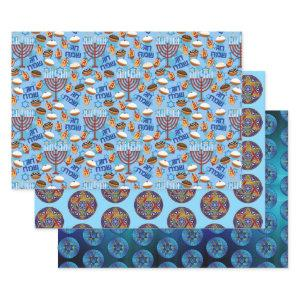 3 Pretty Happy Hanukkah Wrapping Paper Gift Wrap