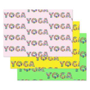 3 Yoga Wrapping Paper Original Watercolor Gift