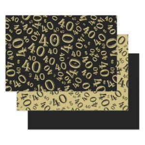 40th Birthday black/Gold Random Number Pattern 40 Wrapping Paper Sheets