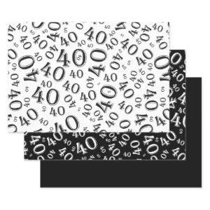 40th Birthday Black/White Random Number Pattern 40 Wrapping Paper Sheets