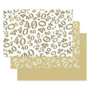 40th Birthday Gold & White Number Pattern 40 Wrapping Paper Sheets