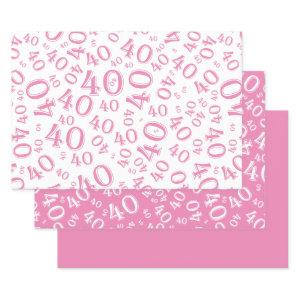 40th Birthday Pink & White Number Pattern 40  Sheets